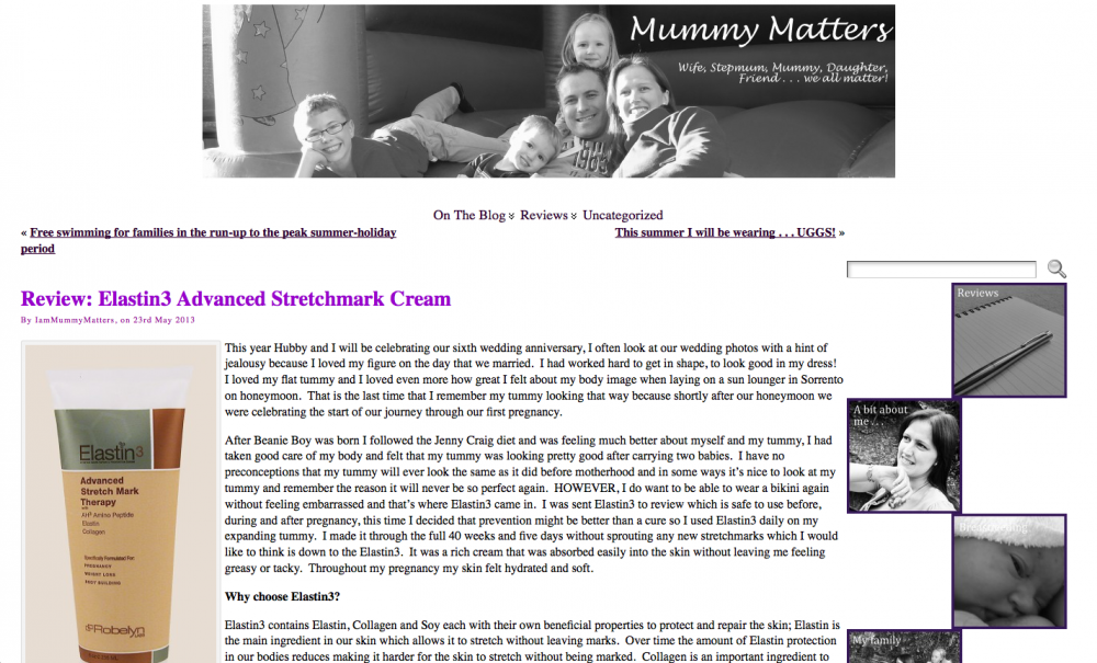 Sabina Green of Mummy Matters blog reviews Elastin3 Stretch Mark Therapy