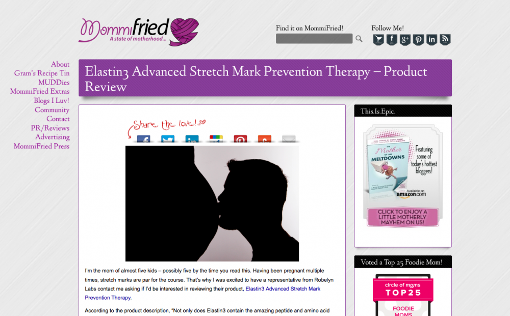 Crystal of Mommifried.com had a positive experience with Elastin3 Stretch Mark Treatment